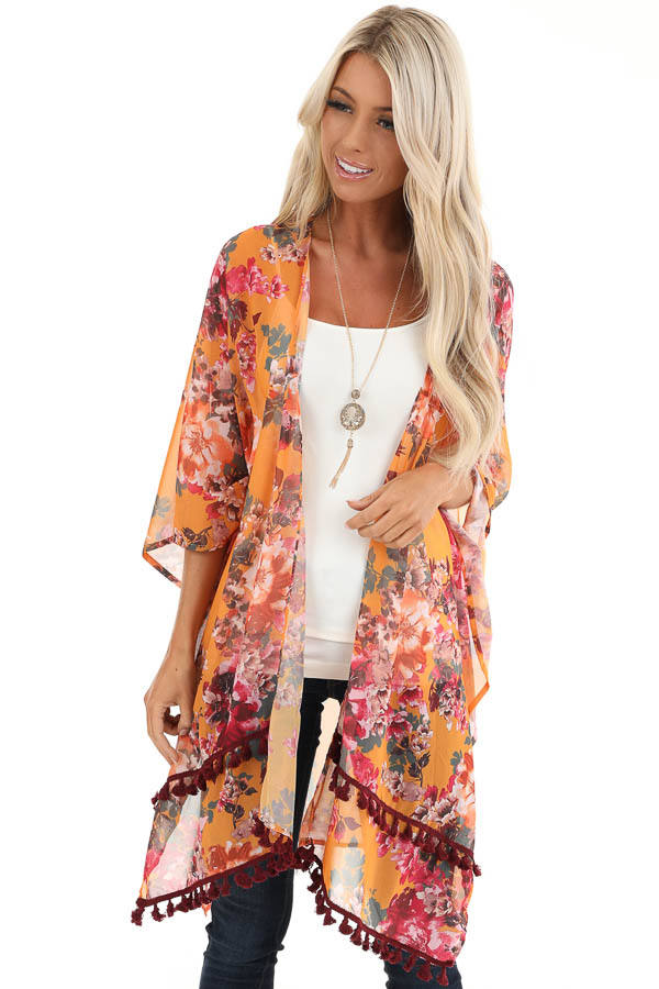 Mango Floral Print Sheer Kimono with Burgundy Tassel Details front close up