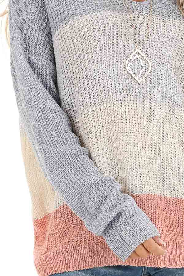 Lilac and Blush Knit Color Block V Neck Sweater detail