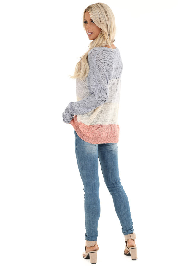 Lilac and Blush Knit Color Block V Neck Sweater back full body