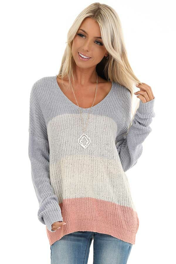 Lilac and Blush Knit Color Block V Neck Sweater front close up
