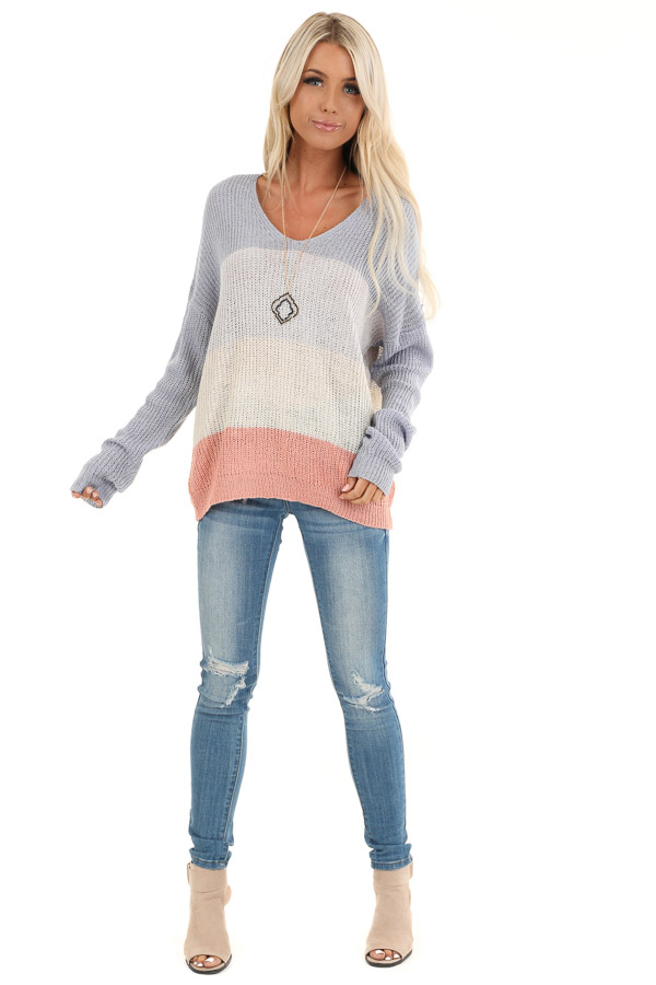 Lilac and Blush Knit Color Block V Neck Sweater front full body