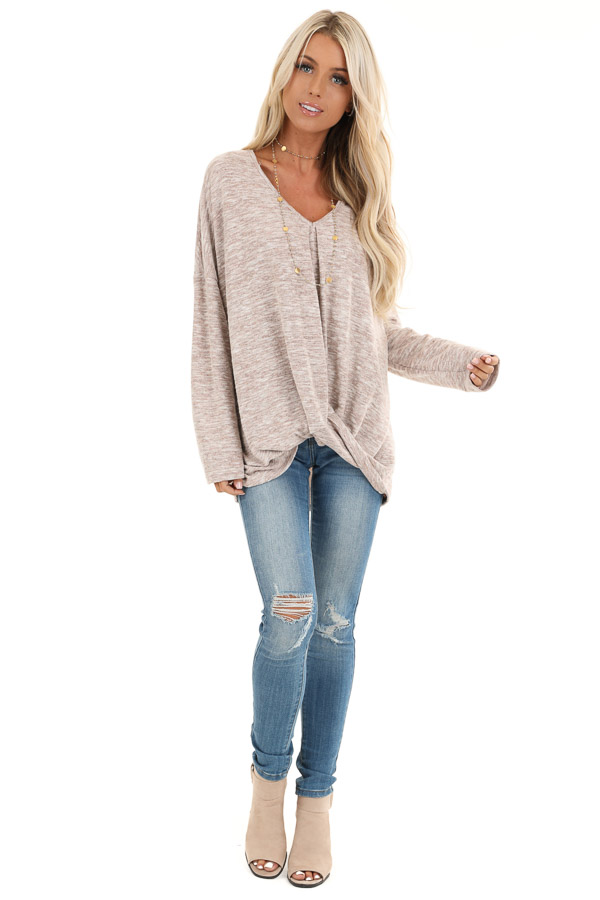 Antique Blush Two Tone V Neck Long Sleeve Top with Hem Twist front full body