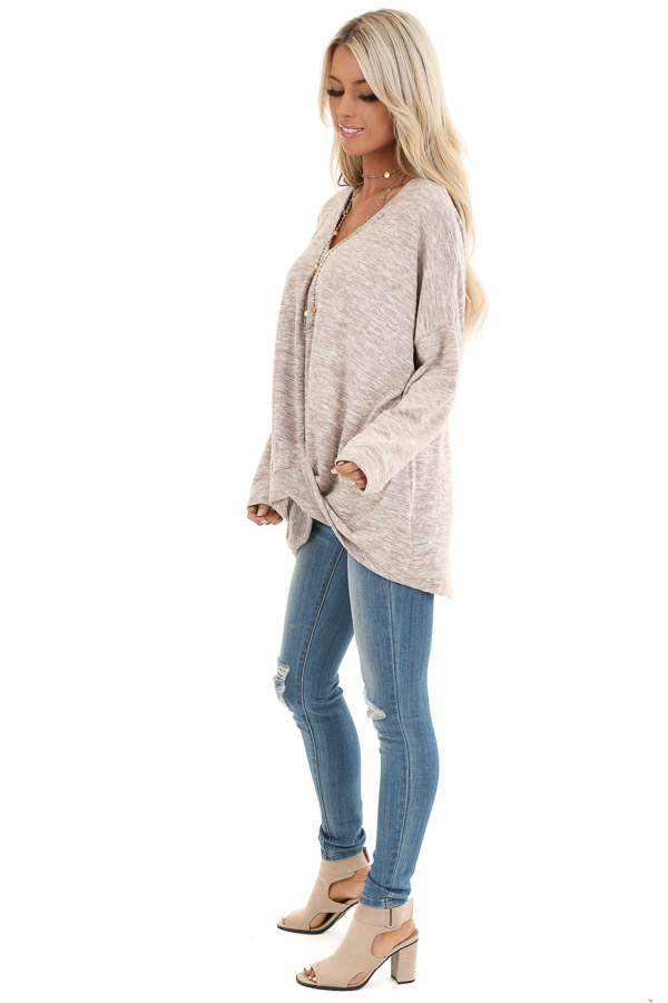 Antique Blush Two Tone V Neck Long Sleeve Top with Hem Twist side full body