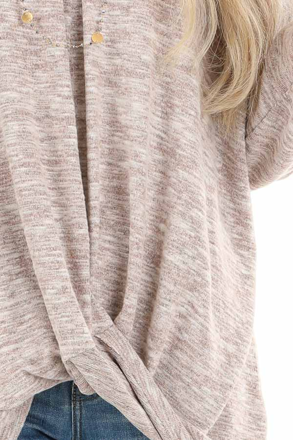 Antique Blush Two Tone V Neck Long Sleeve Top with Hem Twist detail