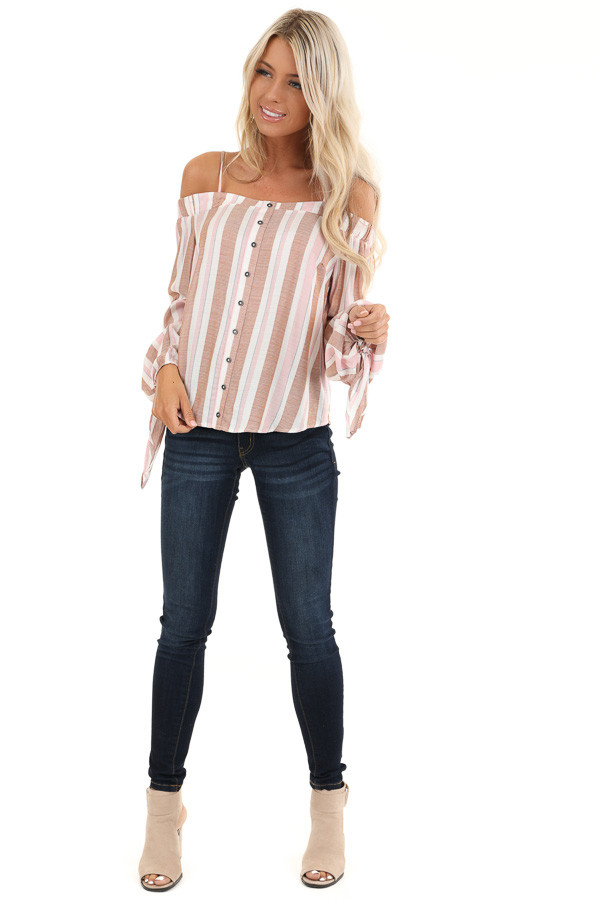 Blush and Mocha Striped Cold Shoulder Top with Sleeve Ties front full body