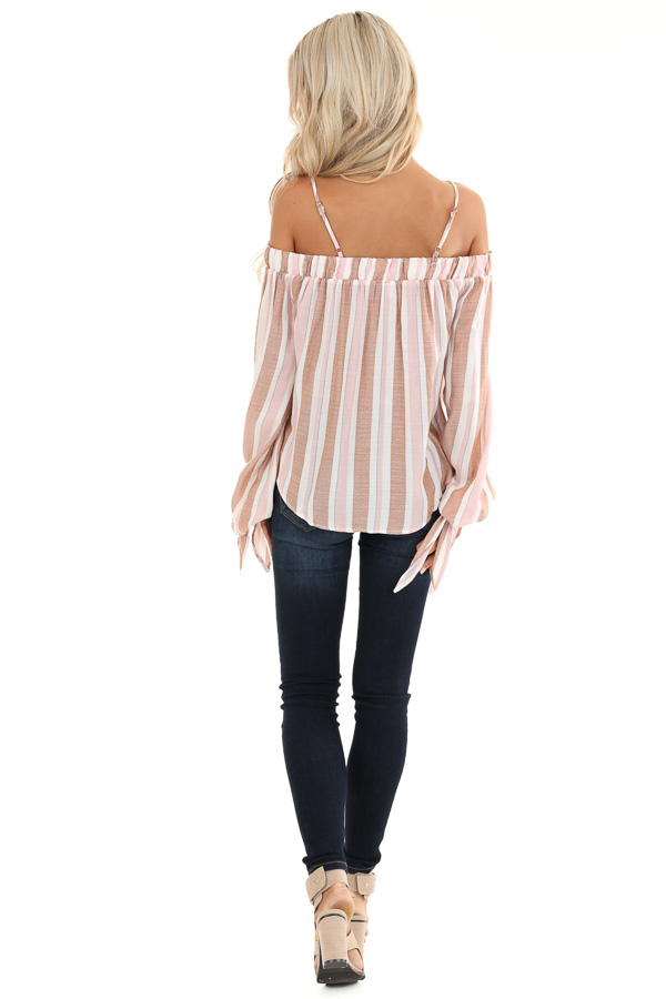 Blush and Mocha Striped Cold Shoulder Top with Sleeve Ties back full body