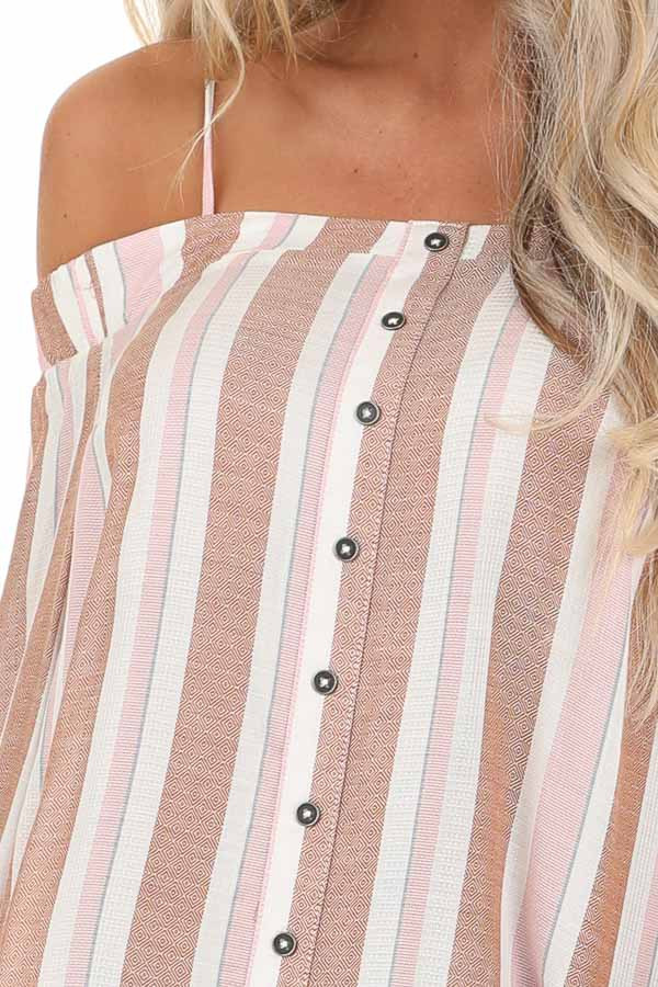 Blush and Mocha Striped Cold Shoulder Top with Sleeve Ties detail