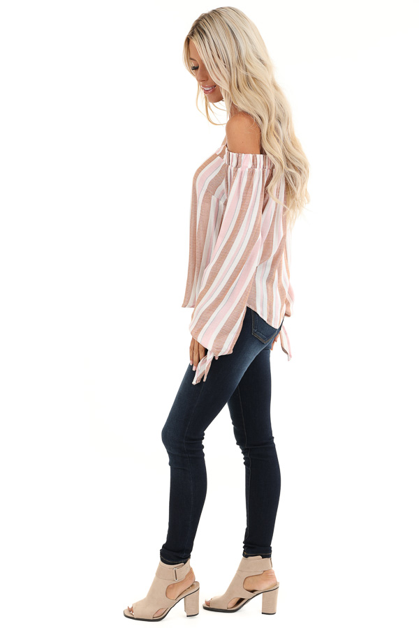 Blush and Mocha Striped Cold Shoulder Top with Sleeve Ties side full body