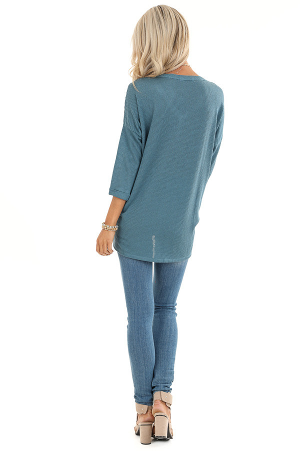 Teal Waffle Knit Button Down Top with 3/4 Sleeves back full body