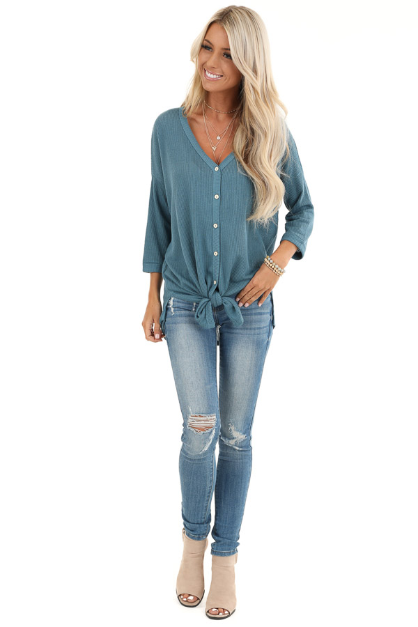Teal Waffle Knit Button Down Top with 3/4 Sleeves front full body