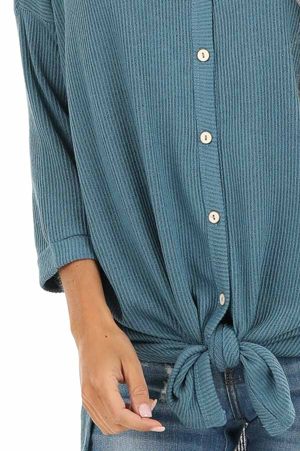 Teal Waffle Knit Button Down Top with 3/4 Sleeves detail