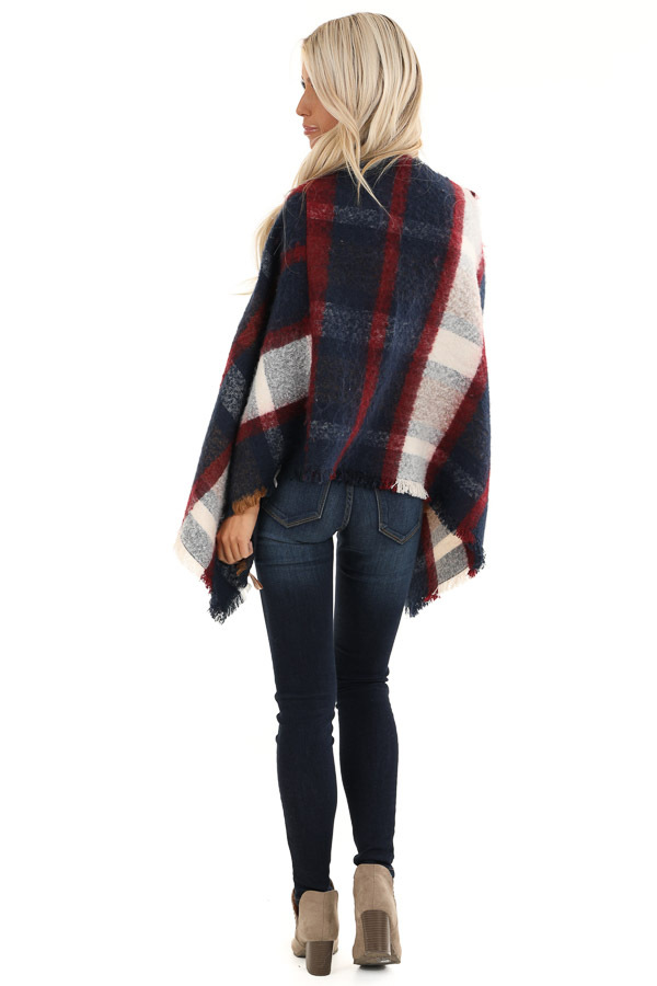 Navy and Scarlet Plaid Soft Poncho with Fringe Details back full body