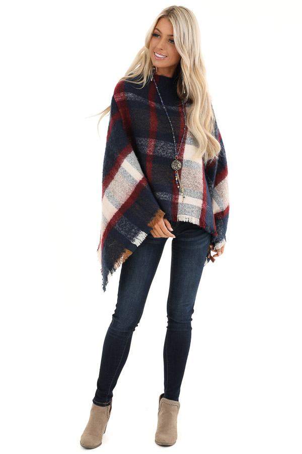 Navy and Scarlet Plaid Soft Poncho with Fringe Details front full body