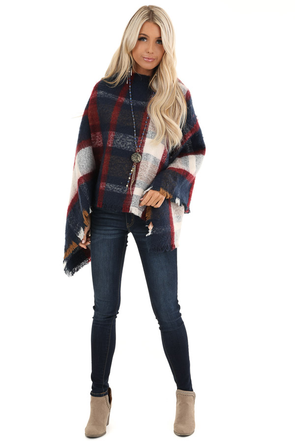 Navy and Scarlet Plaid Soft Poncho with Fringe Details