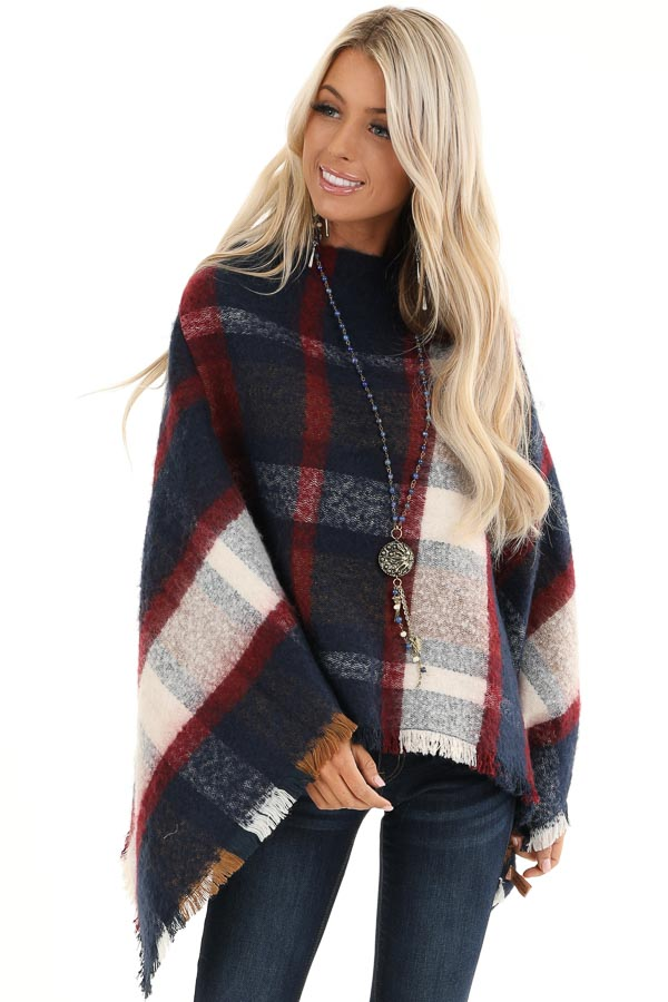 Navy and Scarlet Plaid Soft Poncho with Fringe Details front close up