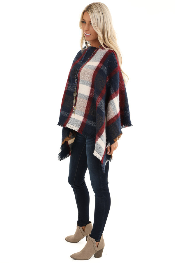 Navy and Scarlet Plaid Soft Poncho with Fringe Details side full body