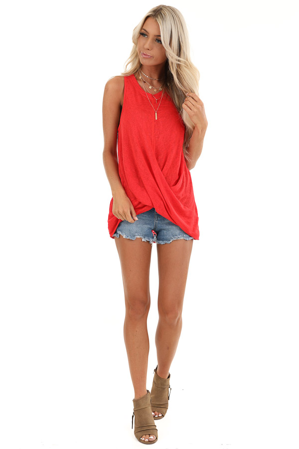 Candy Apple Red Tank Top with Keyhole Back and Twist Detail front full body
