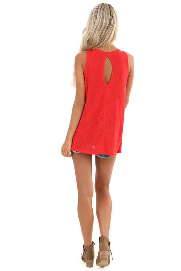 Candy Apple Red Tank Top with Keyhole Back and Twist Detail back full body