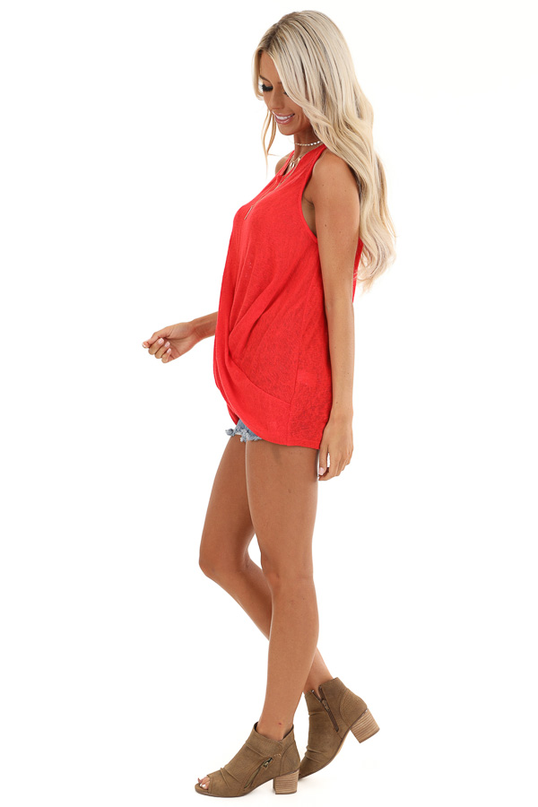 Candy Apple Red Tank Top with Keyhole Back and Twist Detail side full body