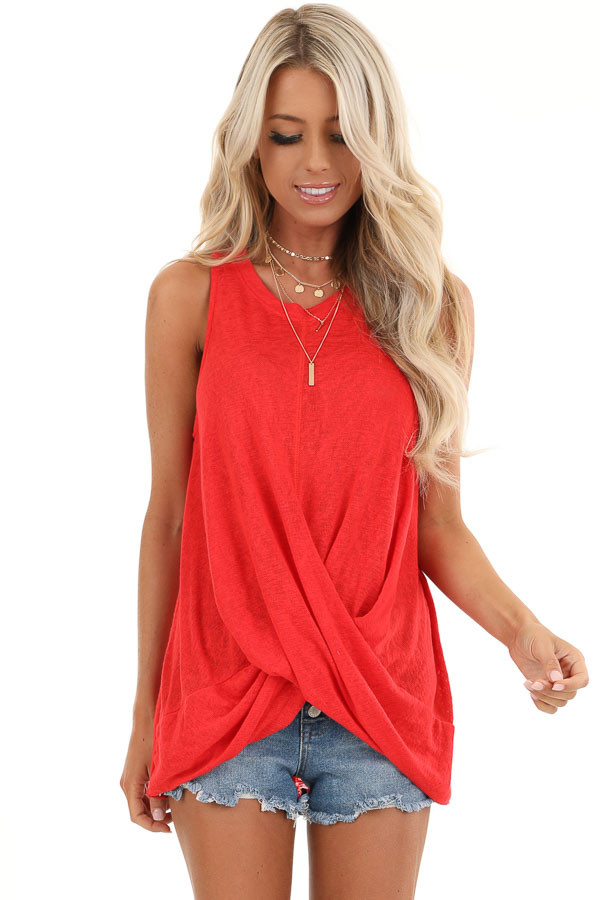 Candy Apple Red Tank Top with Keyhole Back and Twist Detail front close up