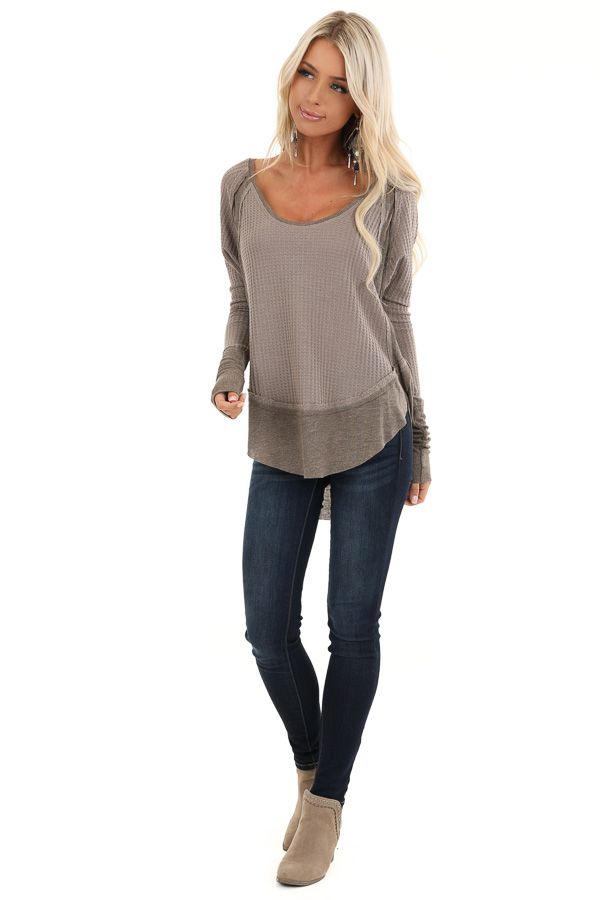 Mocha Waffle Knit Top with Long Sleeves and Ribbed Contrast front full body