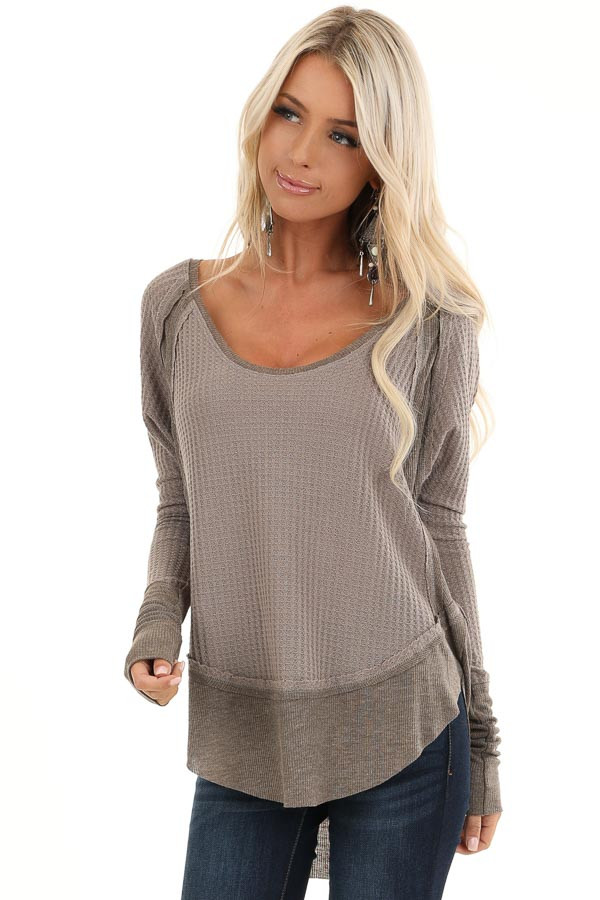 Mocha Waffle Knit Top with Long Sleeves and Ribbed Contrast front close up