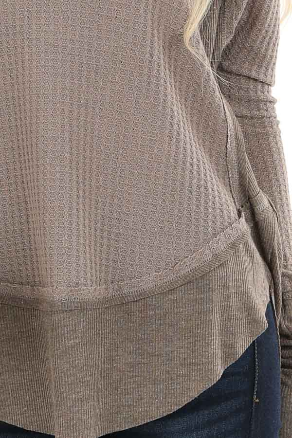 Mocha Waffle Knit Top with Long Sleeves and Ribbed Contrast detail