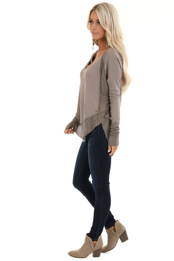 Mocha Waffle Knit Top with Long Sleeves and Ribbed Contrast side full body