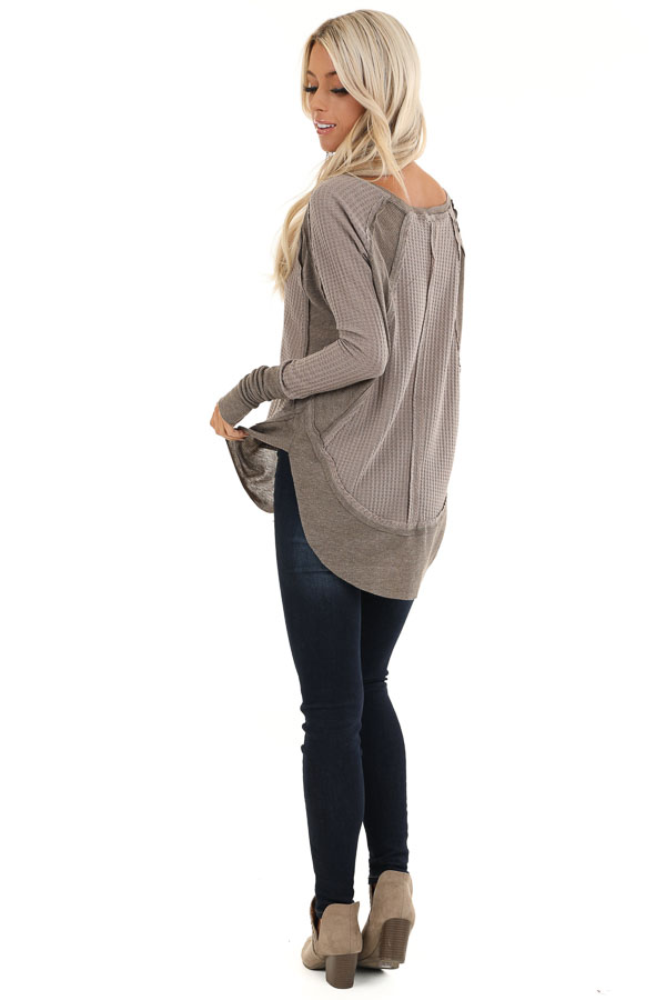 Mocha Waffle Knit Top with Long Sleeves and Ribbed Contrast back full body
