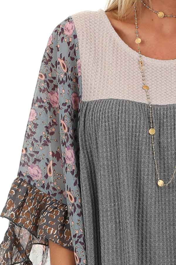 Stone Grey and Tan Waffle Knit Top with Sheer Floral Sleeves detail