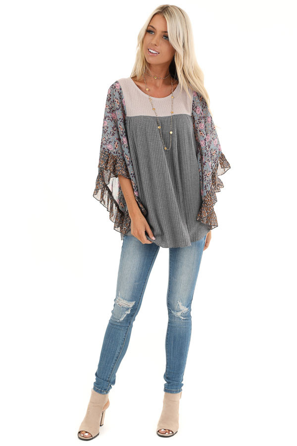 Stone Grey and Tan Waffle Knit Top with Sheer Floral Sleeves front full body