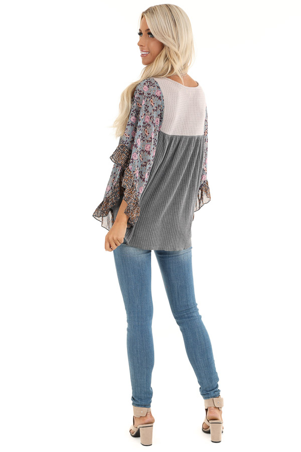 Stone Grey and Tan Waffle Knit Top with Sheer Floral Sleeves back full body