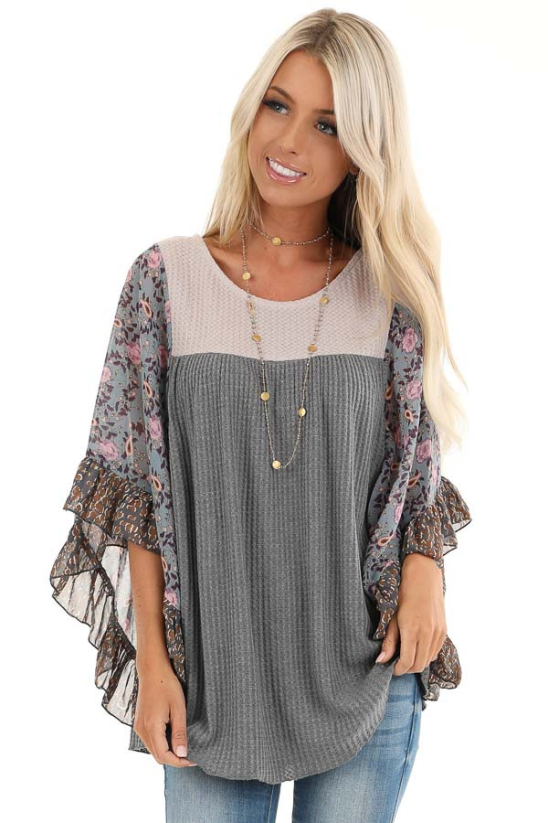 Stone Grey and Tan Waffle Knit Top with Sheer Floral Sleeves front close up