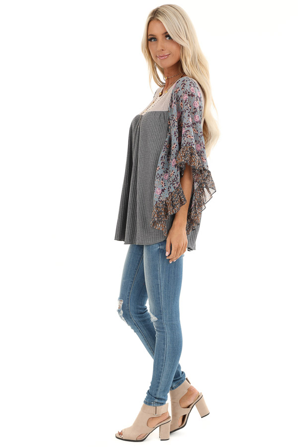 Stone Grey and Tan Waffle Knit Top with Sheer Floral Sleeves side full body