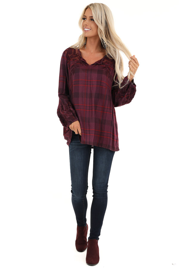 Plum and Red Plaid Top with Lace Shoulder Detail front full body