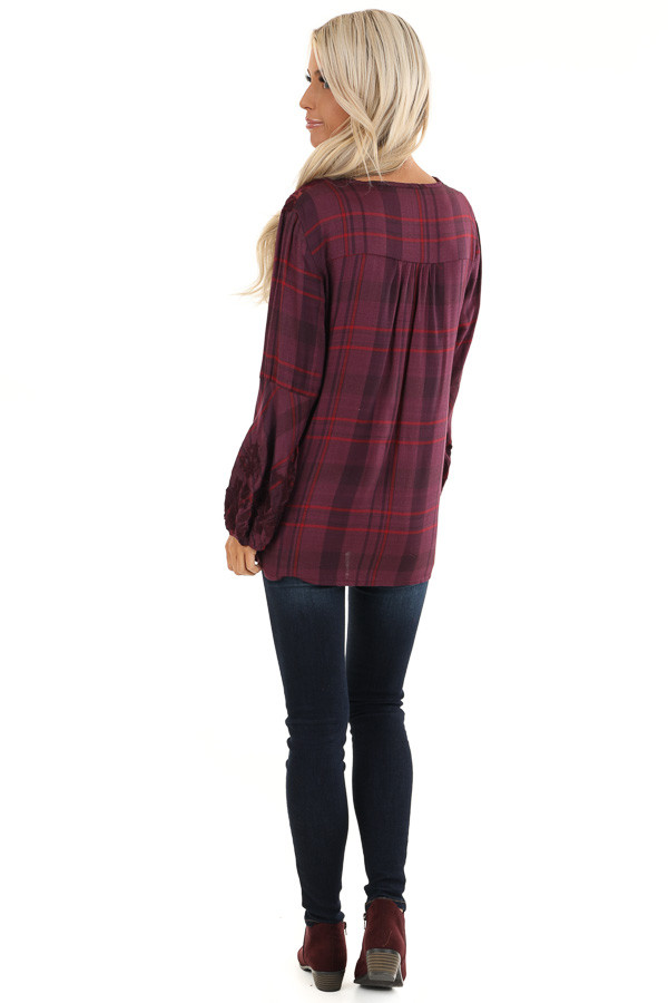Plum and Red Plaid Top with Lace Shoulder Detail back full body