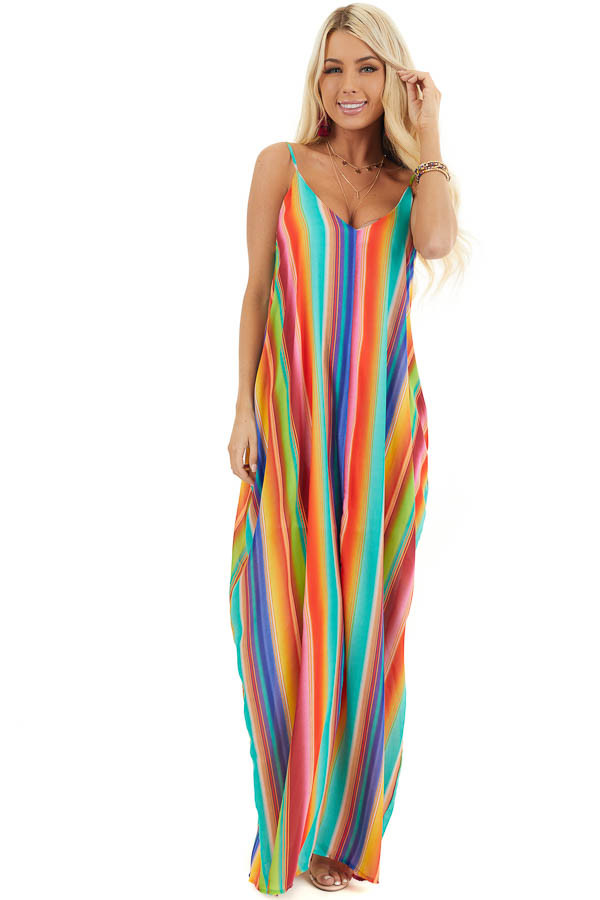 Multi Color Striped Maxi Dress with Hidden Pockets front full body