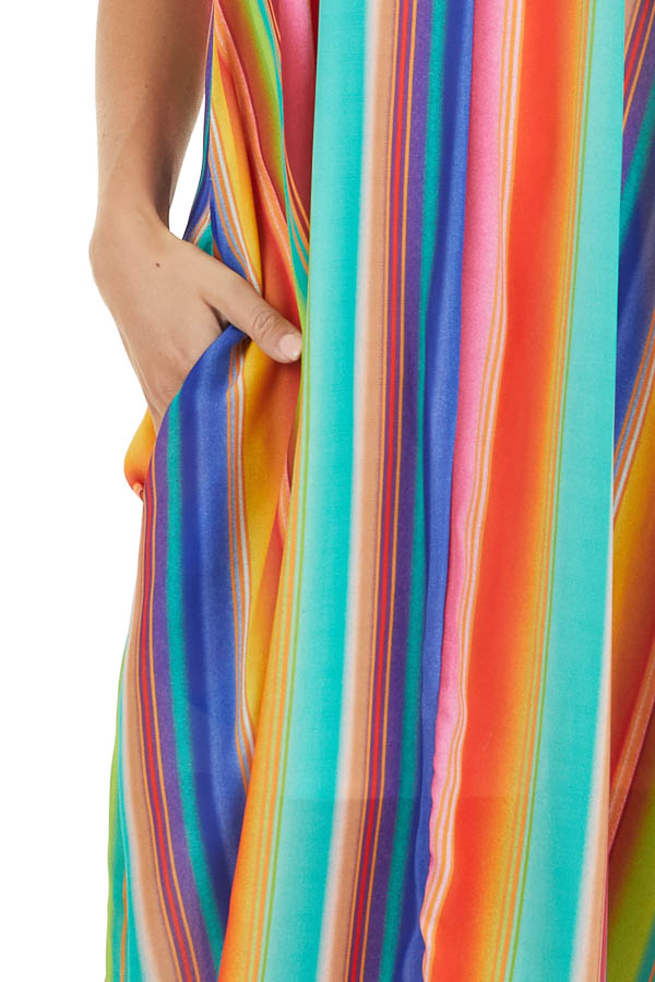 Multi Color Striped Maxi Dress with Hidden Pockets detail