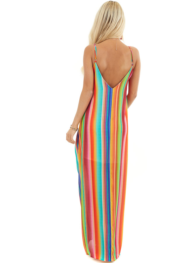 Multi Color Striped Maxi Dress with Hidden Pockets back full body