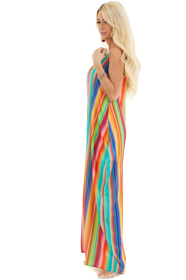 Multi Color Striped Maxi Dress with Hidden Pockets side full body