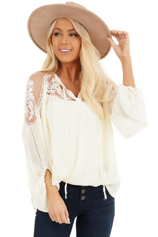 Cream Blouse with Sheer Lace Yoke and Tie Neckline front close up