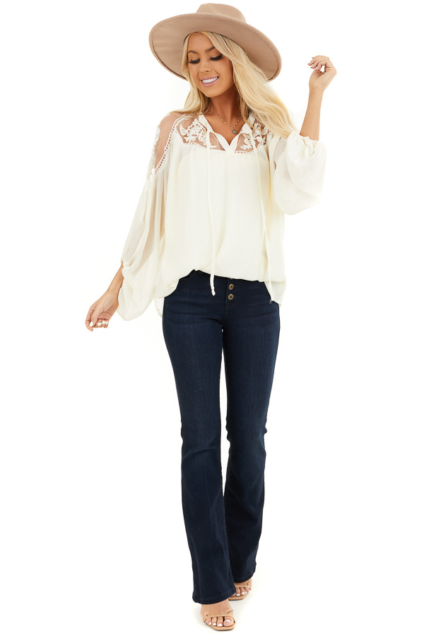 Cream Blouse with Sheer Lace Yoke and Tie Neckline front full body
