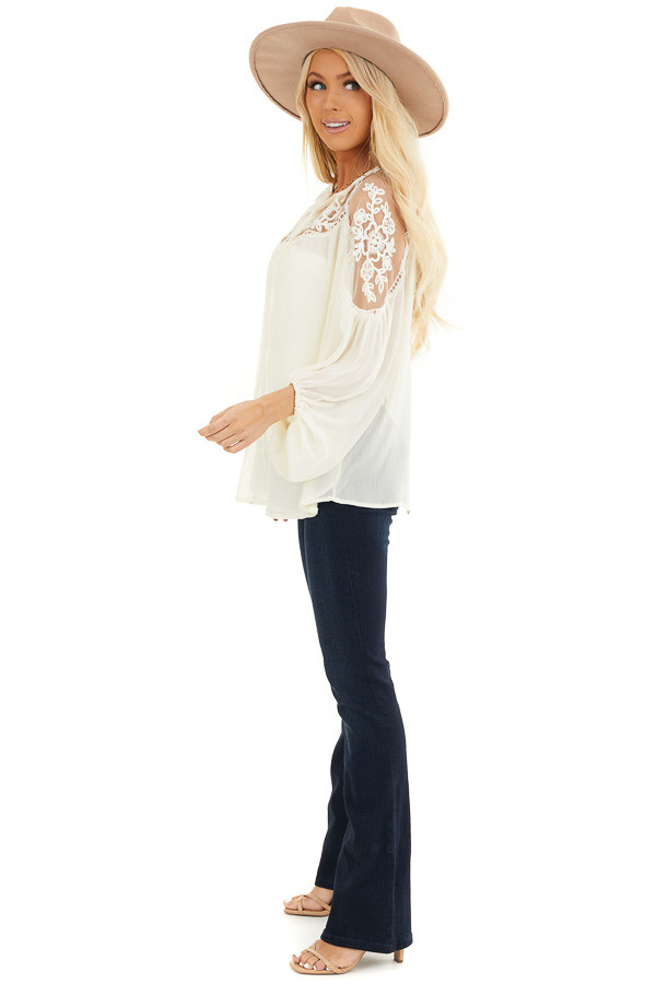 Cream Blouse with Sheer Lace Yoke and Tie Neckline side full body