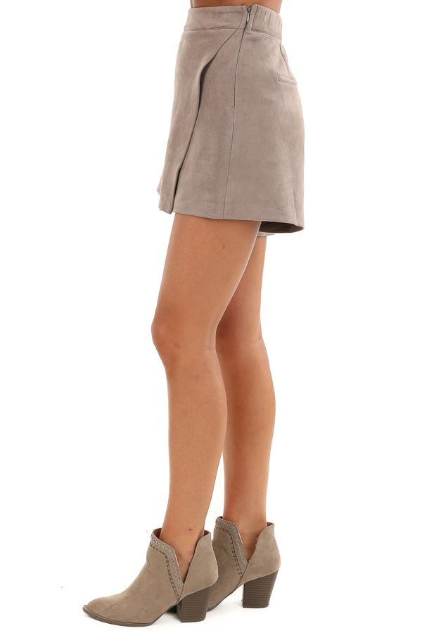 Taupe Suede Mini Skort with Pocket Detail side view