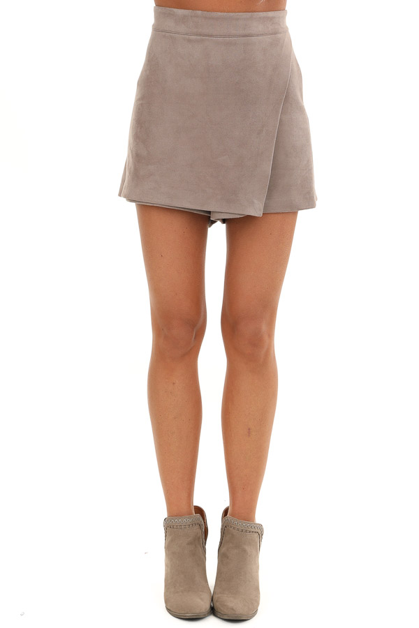 Taupe Suede Mini Skort with Pocket Detail front view
