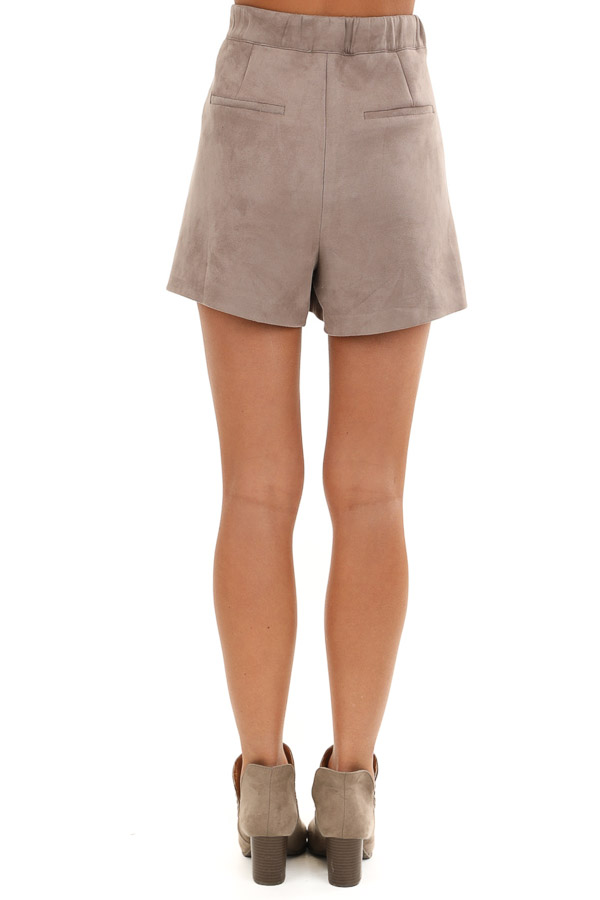 Taupe Suede Mini Skort with Pocket Detail back view