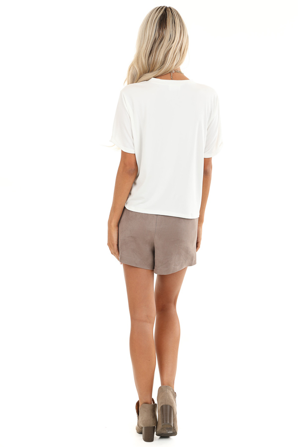 Taupe Suede Mini Skort with Pocket Detail back full body