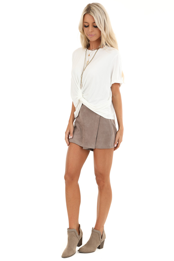 Taupe Suede Mini Skort with Pocket Detail side full body