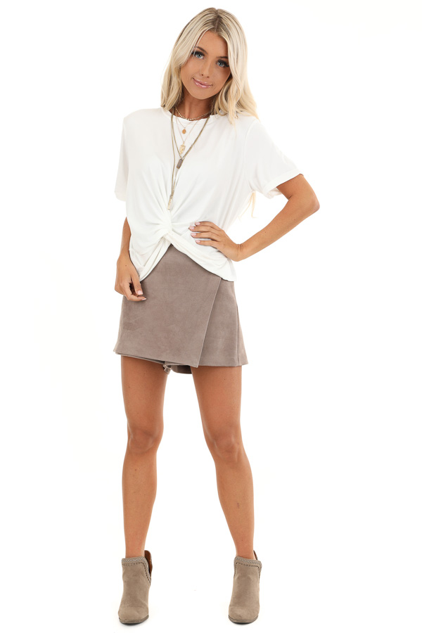 Taupe Suede Mini Skort with Pocket Detail front full body