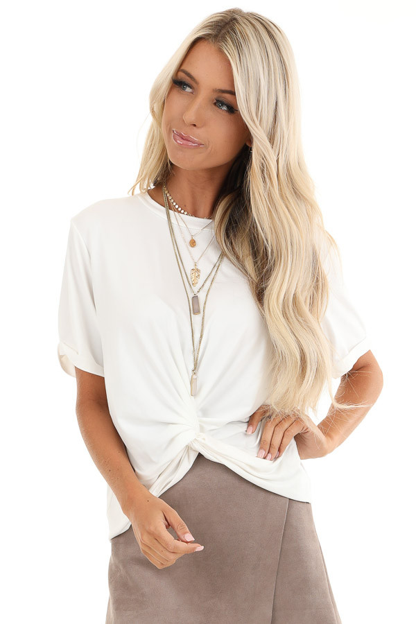 Coconut White Short Sleeve Top with Twist Front Detail front close up